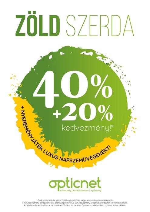 Zöld szerda 40% kedvezmény szemüveglencse akció